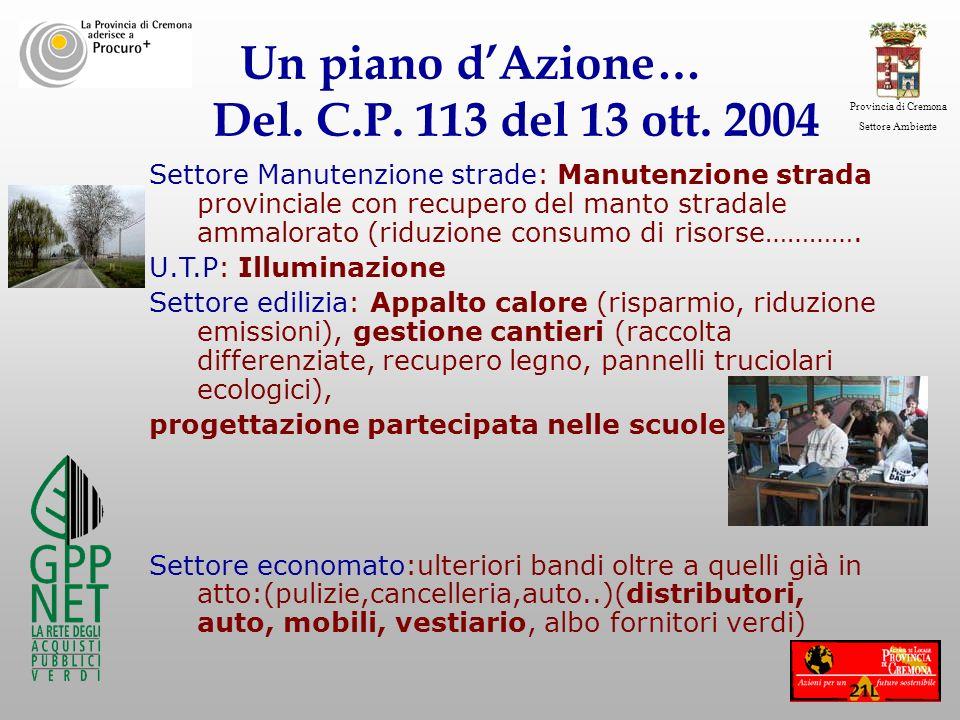 Provincia di Cremona Settore Ambiente Un piano dAzione… Del. C.P. 113 del 13 ott. 2004 Settore Manutenzione strade: Manutenzione strada provinciale co
