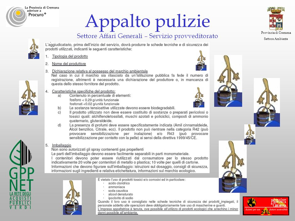 Provincia di Cremona Settore Ambiente Appalto pulizie Settore Affari Generali – Servizio provveditorato