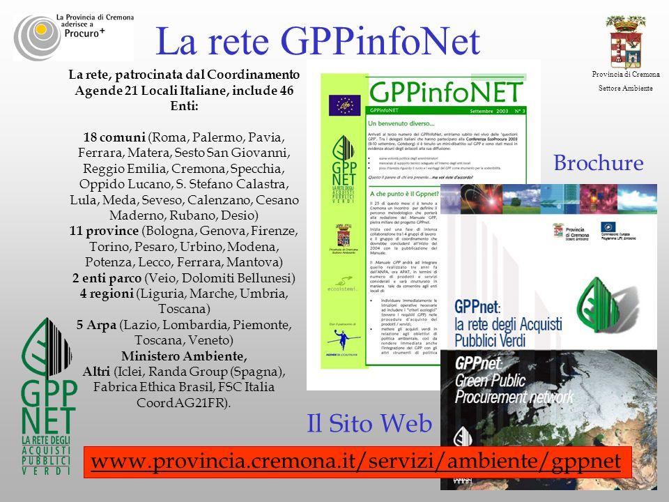 Provincia di Cremona Settore Ambiente La rete, patrocinata dal Coordinamento Agende 21 Locali Italiane, include 46 Enti: 18 comuni (Roma, Palermo, Pav