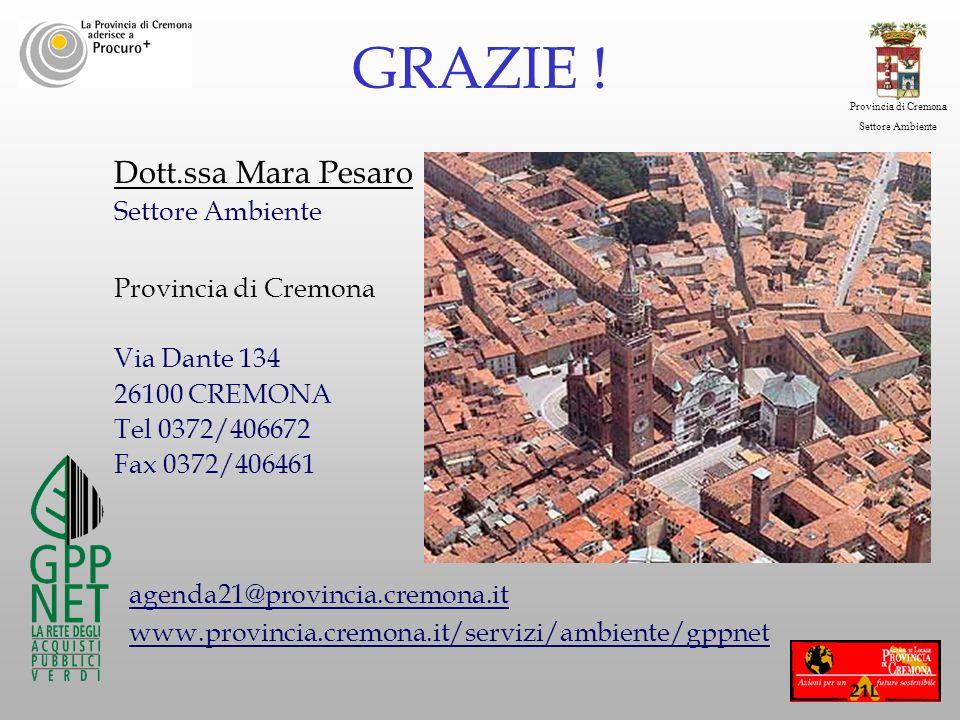 Provincia di Cremona Settore Ambiente Dott.ssa Mara Pesaro Settore Ambiente Provincia di Cremona Via Dante 134 26100 CREMONA Tel 0372/406672 Fax 0372/