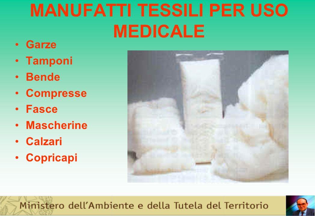 MANUFATTI TESSILI PER USO MEDICALE Garze Tamponi Bende Compresse Fasce Mascherine Calzari Copricapi