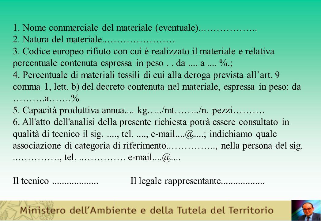 1.Nome commerciale del materiale (eventuale)..……………..