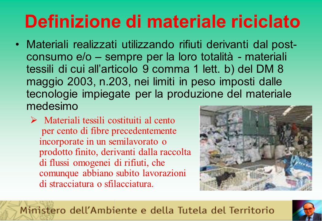 Definizione di materiale riciclato Materiali realizzati utilizzando rifiuti derivanti dal post- consumo e/o – sempre per la loro totalità - materiali tessili di cui allarticolo 9 comma 1 lett.
