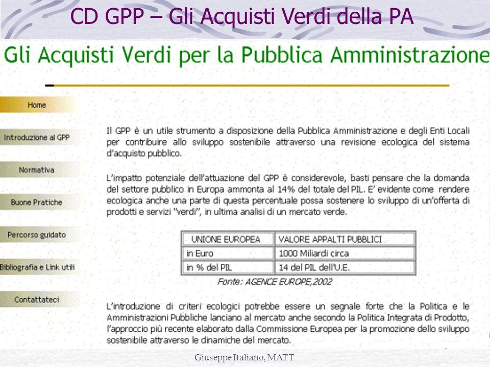 Giuseppe Italiano, MATT CD GPP – Gli Acquisti Verdi della PA