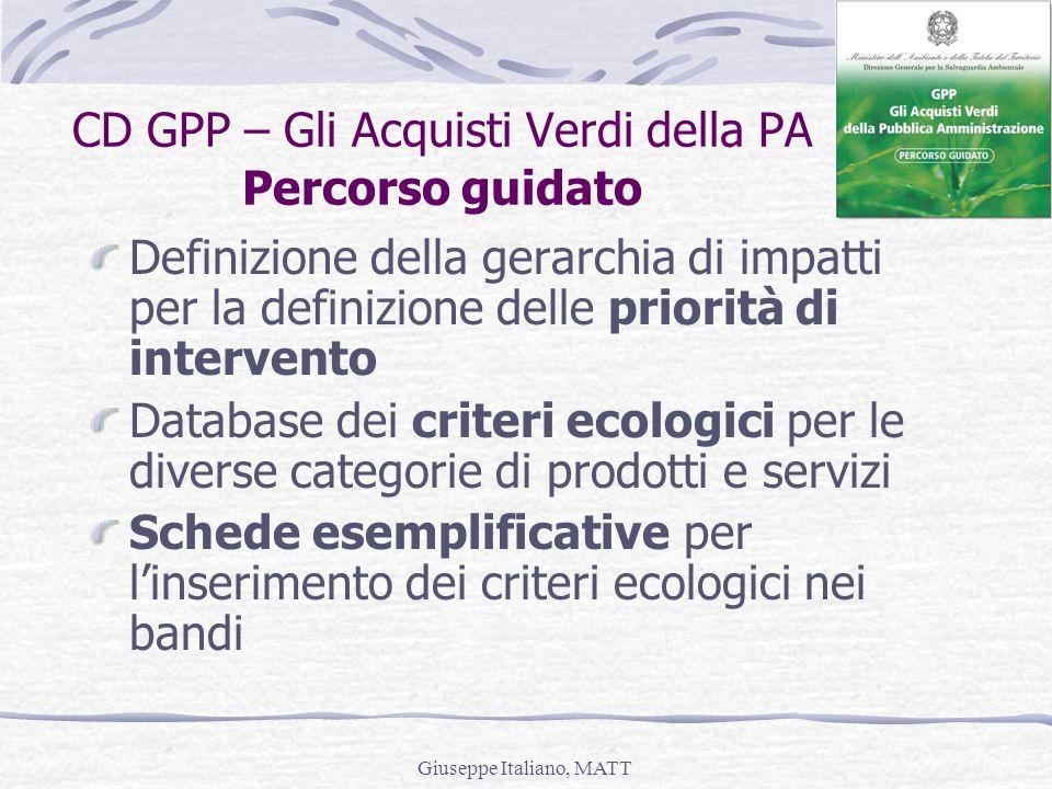 Giuseppe Italiano, MATT CD GPP – Gli Acquisti Verdi della PA Percorso guidato Definizione della gerarchia di impatti per la definizione delle priorità
