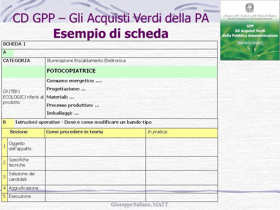 Giuseppe Italiano, MATT CD GPP – Gli Acquisti Verdi della PA Esempio di scheda