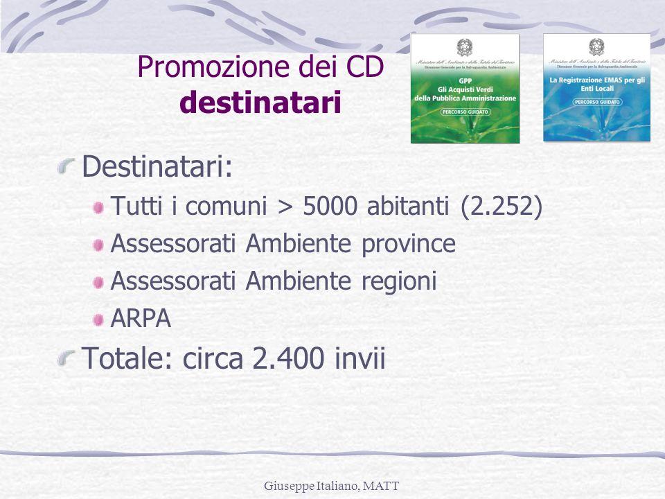 Giuseppe Italiano, MATT Promozione dei CD destinatari Destinatari: Tutti i comuni > 5000 abitanti (2.252) Assessorati Ambiente province Assessorati Am