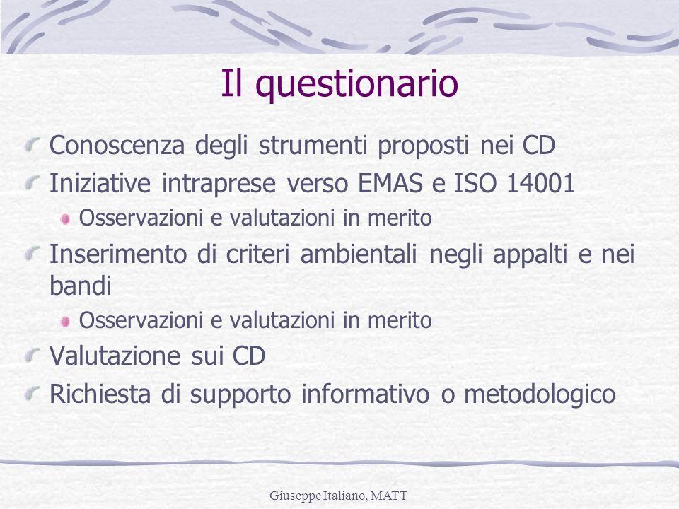 Giuseppe Italiano, MATT Il questionario Conoscenza degli strumenti proposti nei CD Iniziative intraprese verso EMAS e ISO 14001 Osservazioni e valutaz