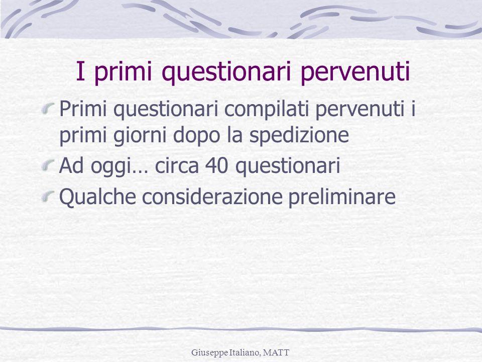 Giuseppe Italiano, MATT Primi questionari compilati pervenuti i primi giorni dopo la spedizione Ad oggi… circa 40 questionari Qualche considerazione p