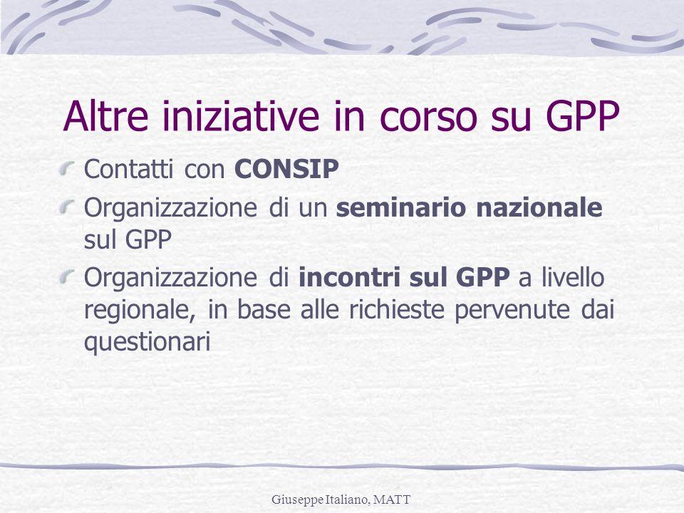 Giuseppe Italiano, MATT Altre iniziative in corso su GPP Contatti con CONSIP Organizzazione di un seminario nazionale sul GPP Organizzazione di incont