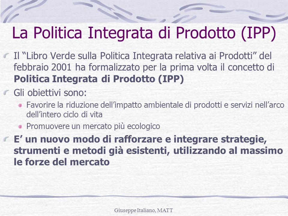 Giuseppe Italiano, MATT La Politica Integrata di Prodotto (IPP) Il Libro Verde sulla Politica Integrata relativa ai Prodotti del febbraio 2001 ha form