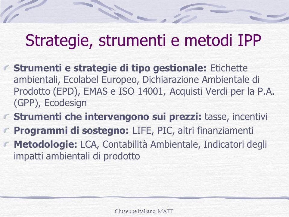 Giuseppe Italiano, MATT Strategie, strumenti e metodi IPP Strumenti e strategie di tipo gestionale: Etichette ambientali, Ecolabel Europeo, Dichiarazi