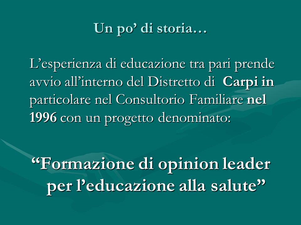 Un po di storia… Lesperienza di educazione tra pari prende avvio allinterno del Distretto di Carpi in particolare nel Consultorio Familiare nel 1996 c