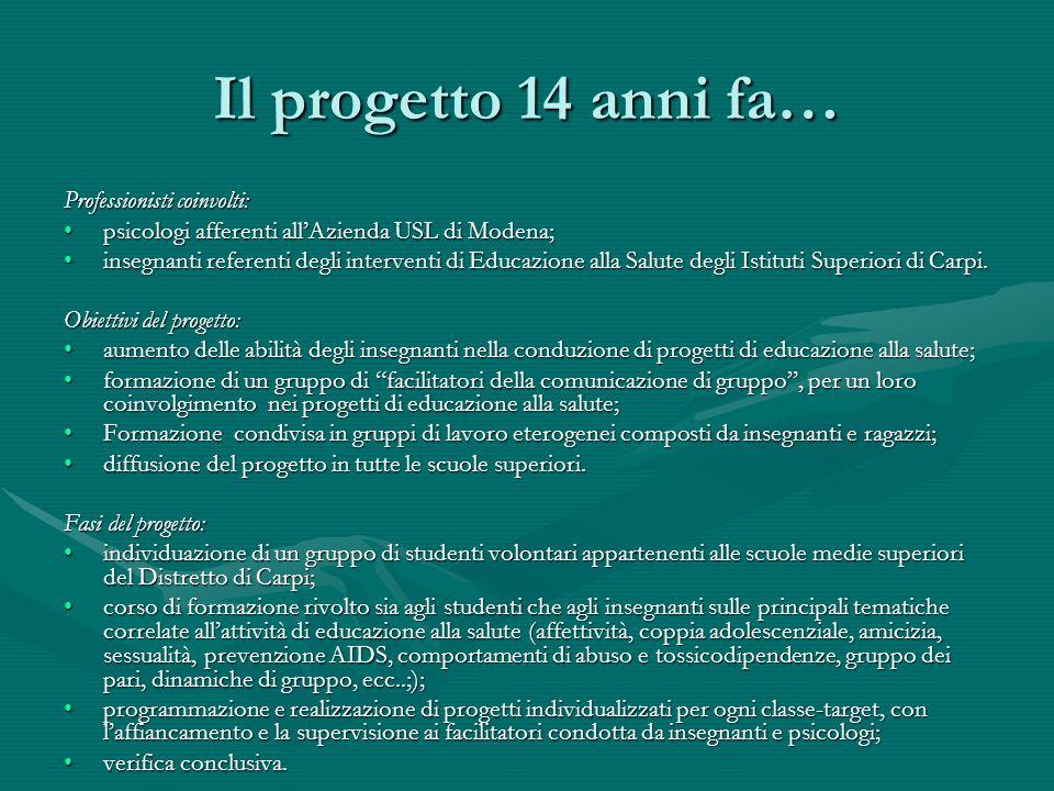 Il progetto 14 anni fa… Professionisti coinvolti: psicologi afferenti allAzienda USL di Modena;psicologi afferenti allAzienda USL di Modena; insegnant