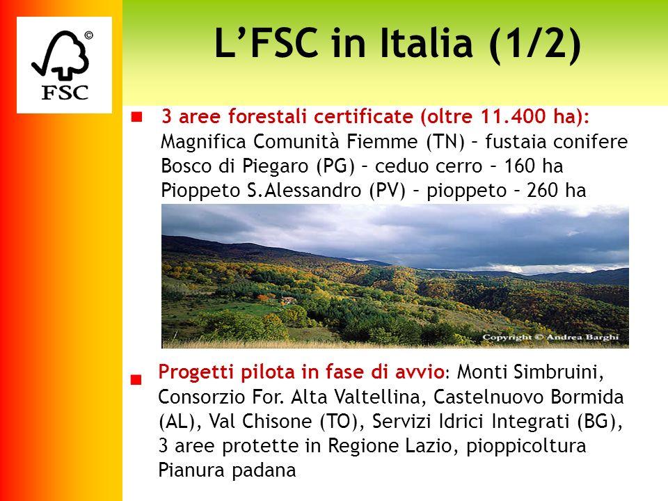 LFSC in Italia (1/2) Progetti pilota in fase di avvio : Monti Simbruini, Consorzio For. Alta Valtellina, Castelnuovo Bormida (AL), Val Chisone (TO), S
