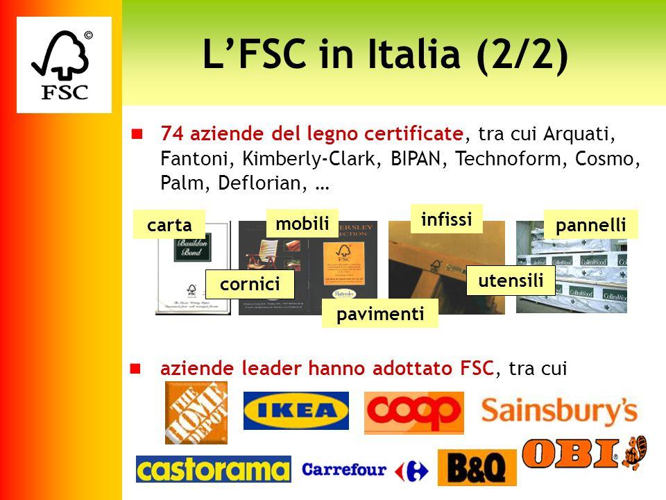 LFSC in Italia (2/2) 74 aziende del legno certificate, tra cui Arquati, Fantoni, Kimberly-Clark, BIPAN, Technoform, Cosmo, Palm, Deflorian, … carta mo