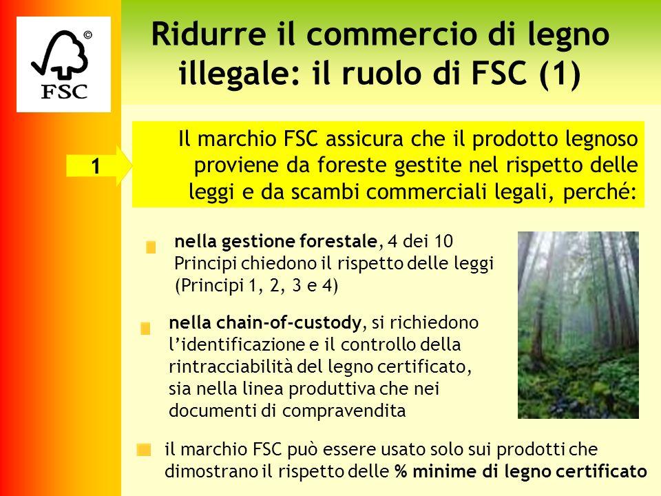 Ridurre il commercio di legno illegale: il ruolo di FSC (1) Il marchio FSC assicura che il prodotto legnoso proviene da foreste gestite nel rispetto d