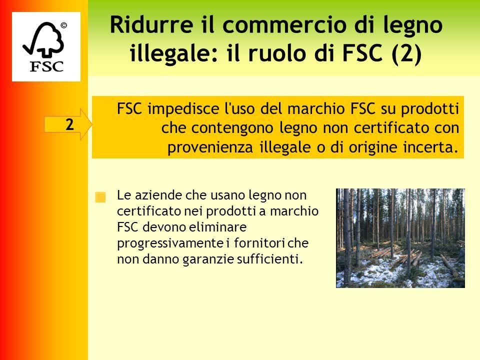 Ridurre il commercio di legno illegale: il ruolo di FSC (2) FSC impedisce l'uso del marchio FSC su prodotti che contengono legno non certificato con p