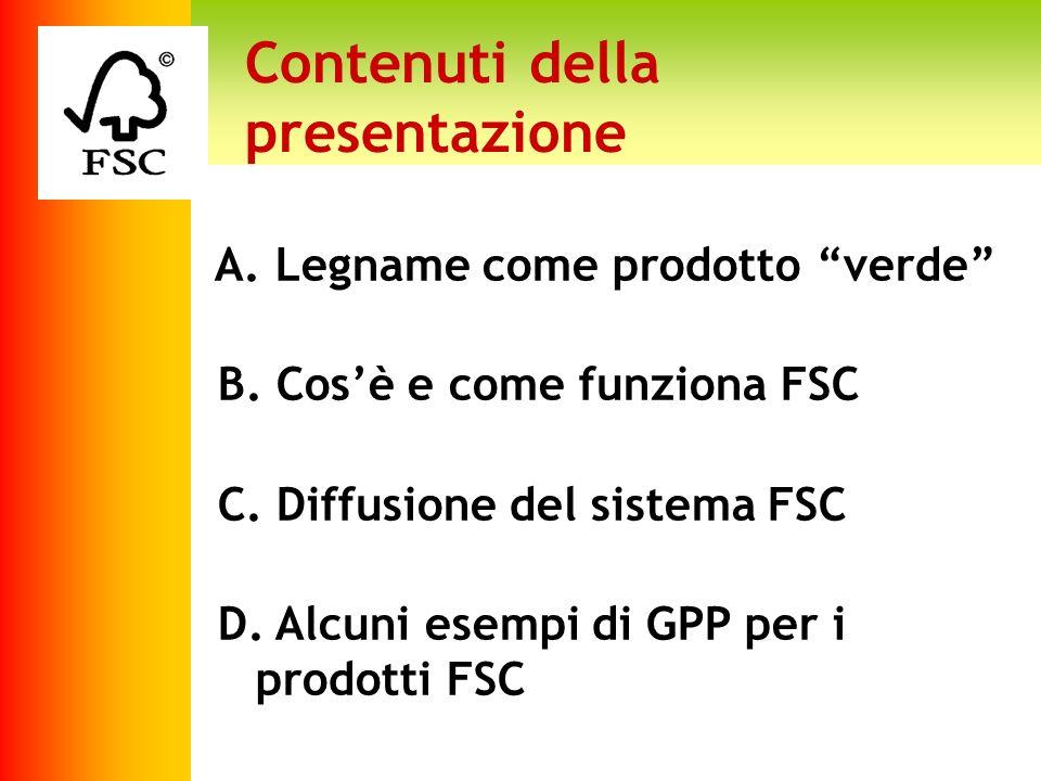 Contenuti della presentazione A. Legname come prodotto verde B. Cosè e come funziona FSC C. Diffusione del sistema FSC D. Alcuni esempi di GPP per i p