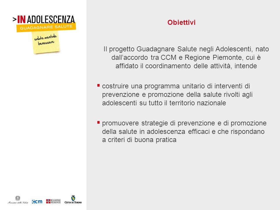 Obiettivi Il progetto Guadagnare Salute negli Adolescenti, nato dallaccordo tra CCM e Regione Piemonte, cui è affidato il coordinamento delle attività