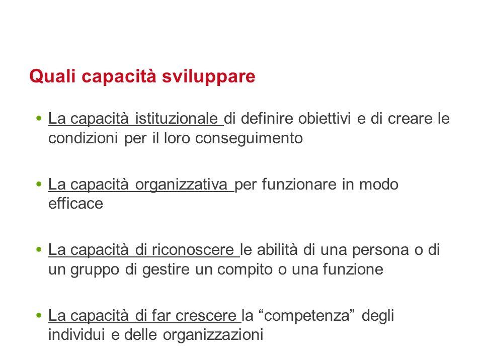 Quali capacità sviluppare La capacità istituzionale di definire obiettivi e di creare le condizioni per il loro conseguimento La capacità organizzativ