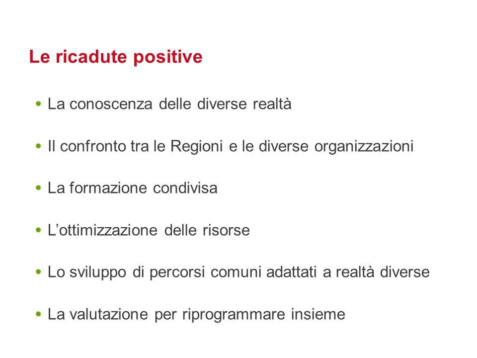 Le ricadute positive La conoscenza delle diverse realtà Il confronto tra le Regioni e le diverse organizzazioni La formazione condivisa Lottimizzazion