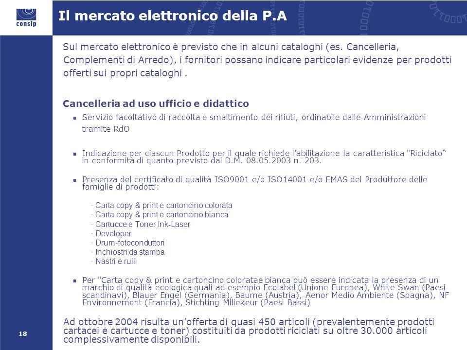 18 Il mercato elettronico della P.A Sul mercato elettronico è previsto che in alcuni cataloghi (es.