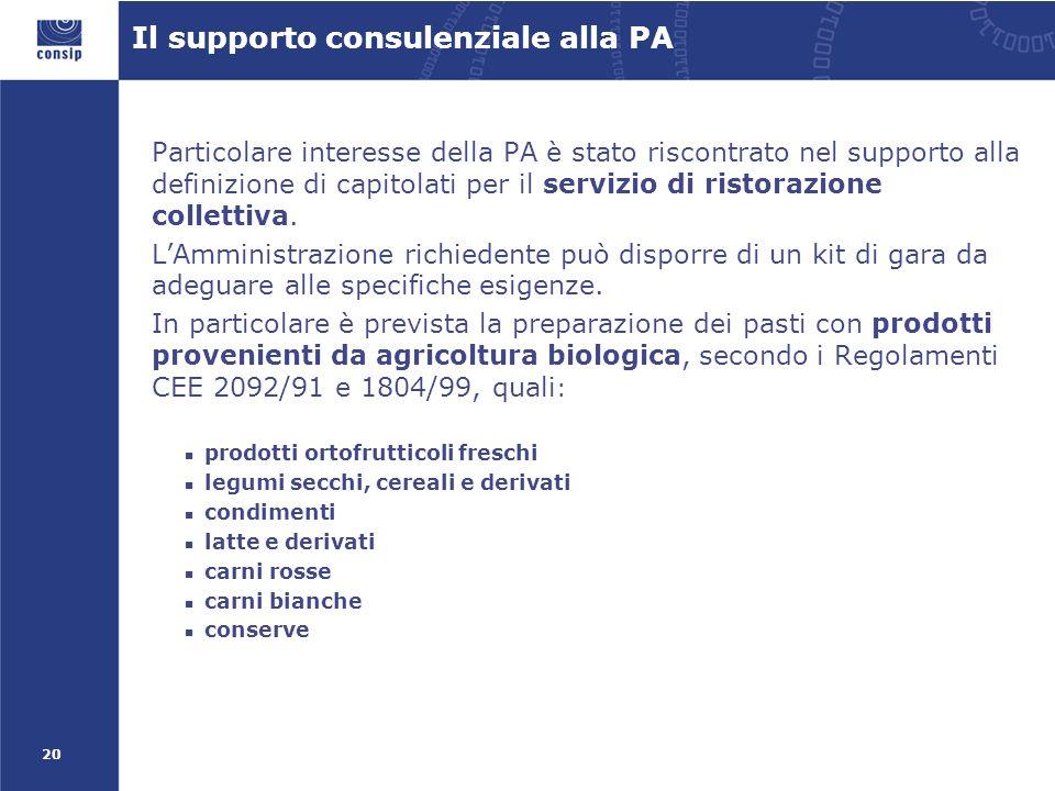 20 Il supporto consulenziale alla PA Particolare interesse della PA è stato riscontrato nel supporto alla definizione di capitolati per il servizio di ristorazione collettiva.