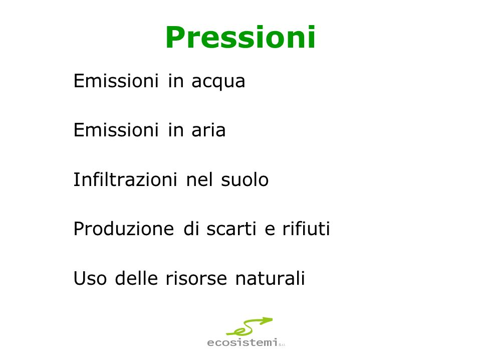 Pressioni Emissioni in acqua Emissioni in aria Infiltrazioni nel suolo Produzione di scarti e rifiuti Uso delle risorse naturali