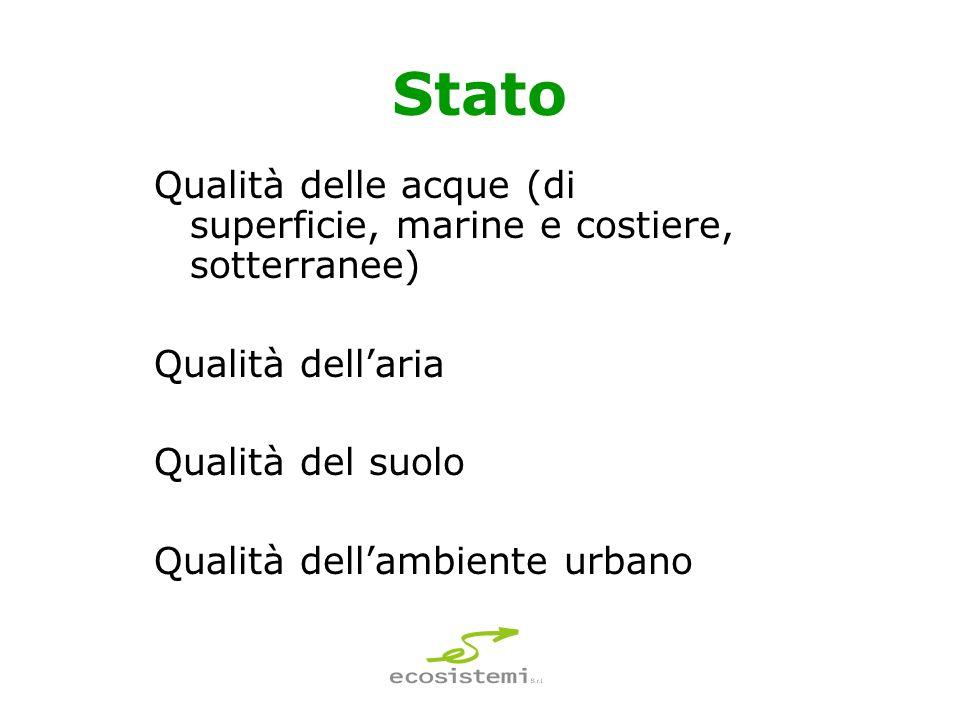 Stato Qualità delle acque (di superficie, marine e costiere, sotterranee) Qualità dellaria Qualità del suolo Qualità dellambiente urbano