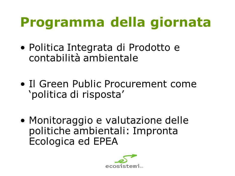 Programma della giornata Politica Integrata di Prodotto e contabilità ambientale Il Green Public Procurement come politica di risposta Monitoraggio e valutazione delle politiche ambientali: Impronta Ecologica ed EPEA