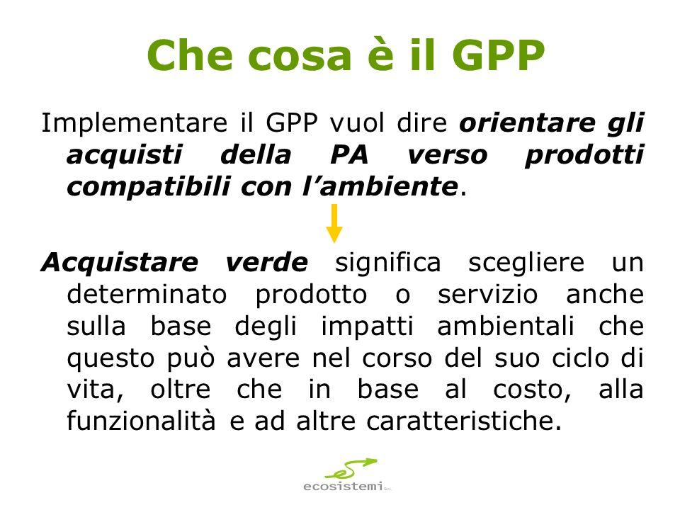 Che cosa è il GPP Implementare il GPP vuol dire orientare gli acquisti della PA verso prodotti compatibili con lambiente.