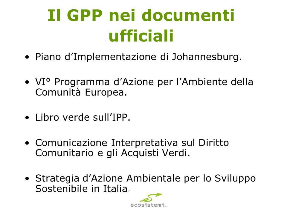 Il GPP nei documenti ufficiali Piano dImplementazione di Johannesburg.
