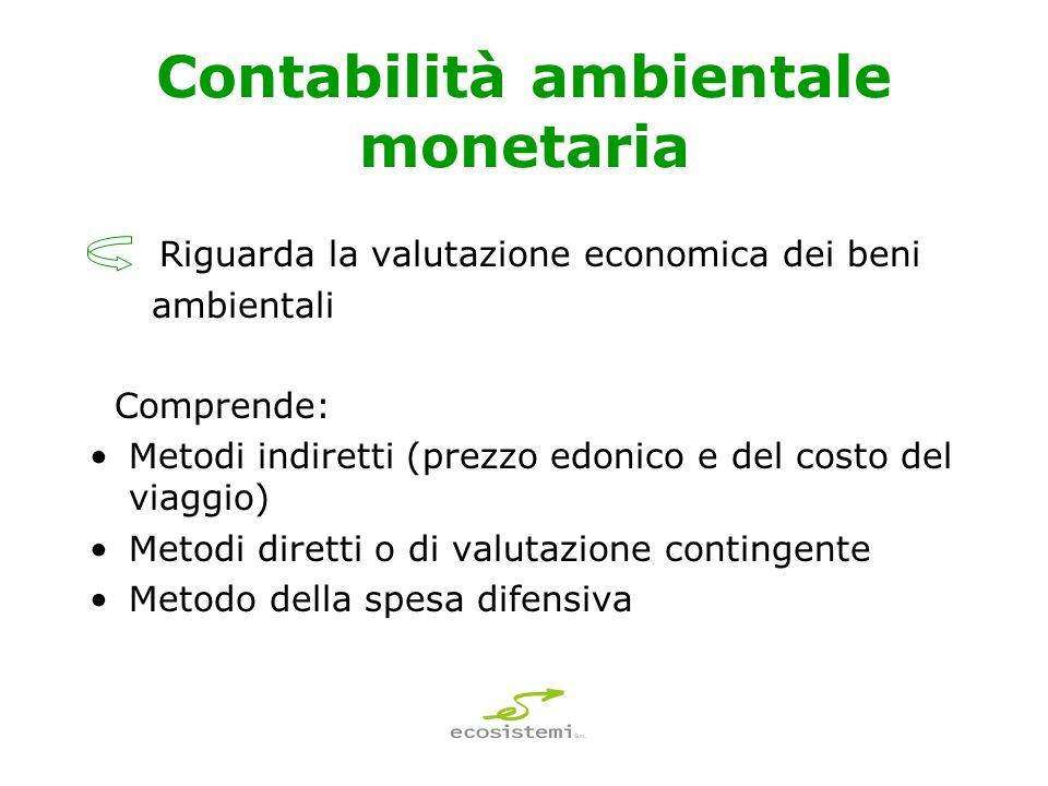 Contabilità ambientale monetaria Riguarda la valutazione economica dei beni ambientali Comprende: Metodi indiretti (prezzo edonico e del costo del viaggio) Metodi diretti o di valutazione contingente Metodo della spesa difensiva