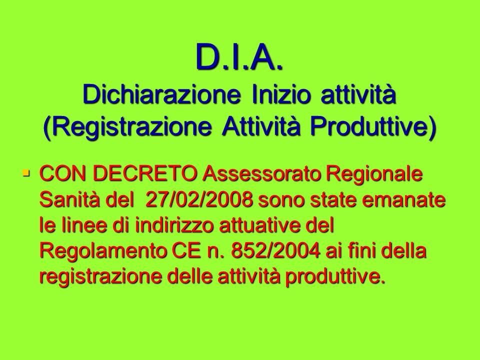 D.I.A. Dichiarazione Inizio attività (Registrazione Attività Produttive) CON DECRETO Assessorato Regionale Sanità del 27/02/2008 sono state emanate le