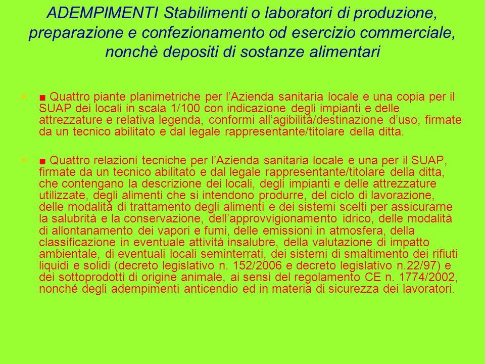 ADEMPIMENTI Stabilimenti o laboratori di produzione, preparazione e confezionamento od esercizio commerciale, nonchè depositi di sostanze alimentari Q