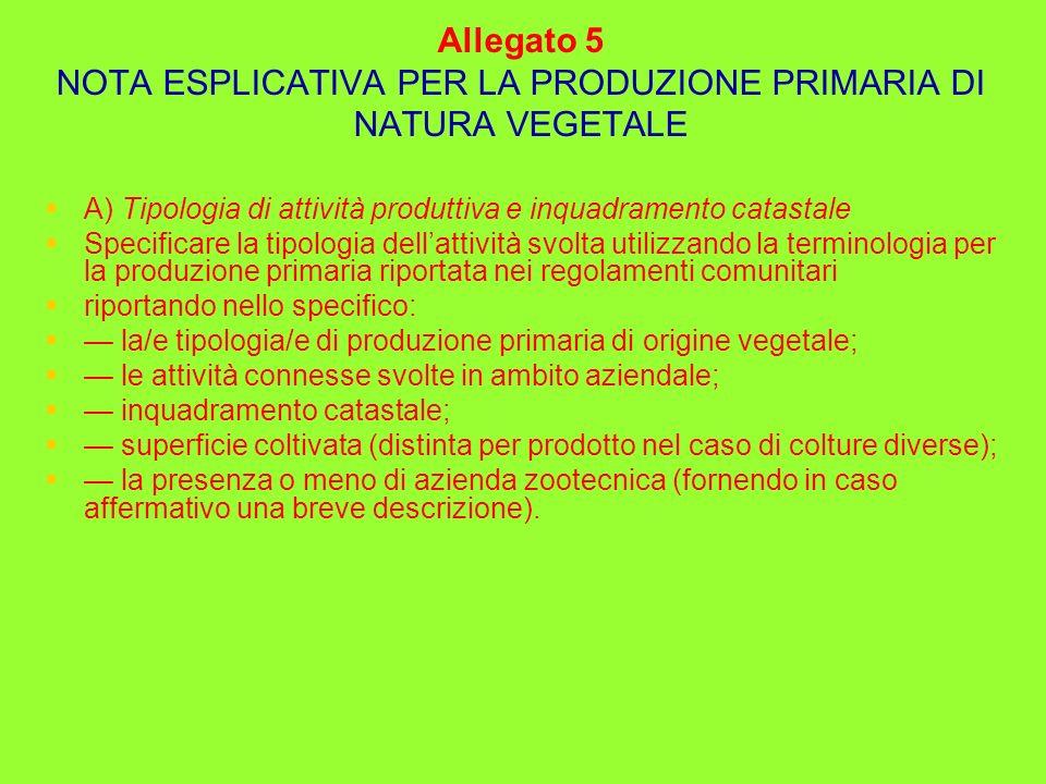 Allegato 5 NOTA ESPLICATIVA PER LA PRODUZIONE PRIMARIA DI NATURA VEGETALE A) Tipologia di attività produttiva e inquadramento catastale Specificare la
