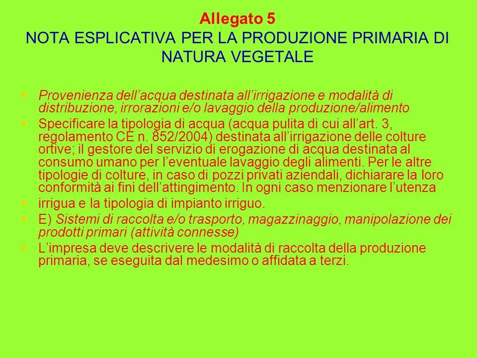 Allegato 5 NOTA ESPLICATIVA PER LA PRODUZIONE PRIMARIA DI NATURA VEGETALE Provenienza dellacqua destinata allirrigazione e modalità di distribuzione,