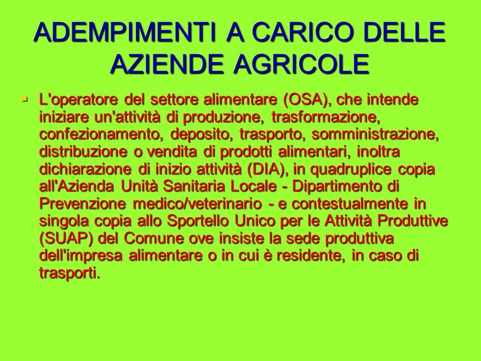 ADEMPIMENTI A CARICO DELLE AZIENDE AGRICOLE L'operatore del settore alimentare (OSA), che intende iniziare un'attività di produzione, trasformazione,