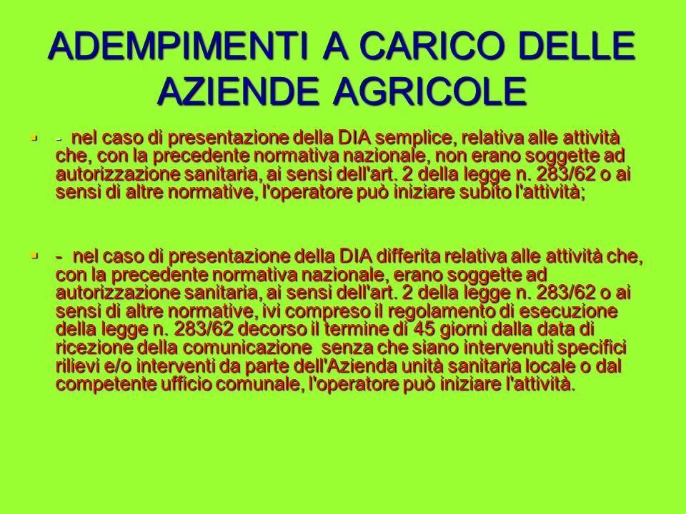 ADEMPIMENTI A CARICO DELLE AZIENDE AGRICOLE - nel caso di presentazione della DIA semplice, relativa alle attività che, con la precedente normativa na
