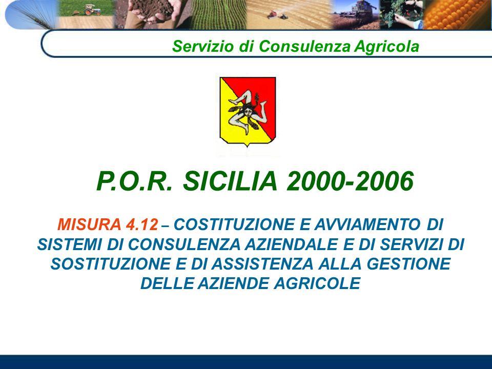 Servizio di Consulenza Agricola MISURA 4.12 – COSTITUZIONE E AVVIAMENTO DI SISTEMI DI CONSULENZA AZIENDALE E DI SERVIZI DI SOSTITUZIONE E DI ASSISTENZA ALLA GESTIONE DELLE AZIENDE AGRICOLE P.O.R.