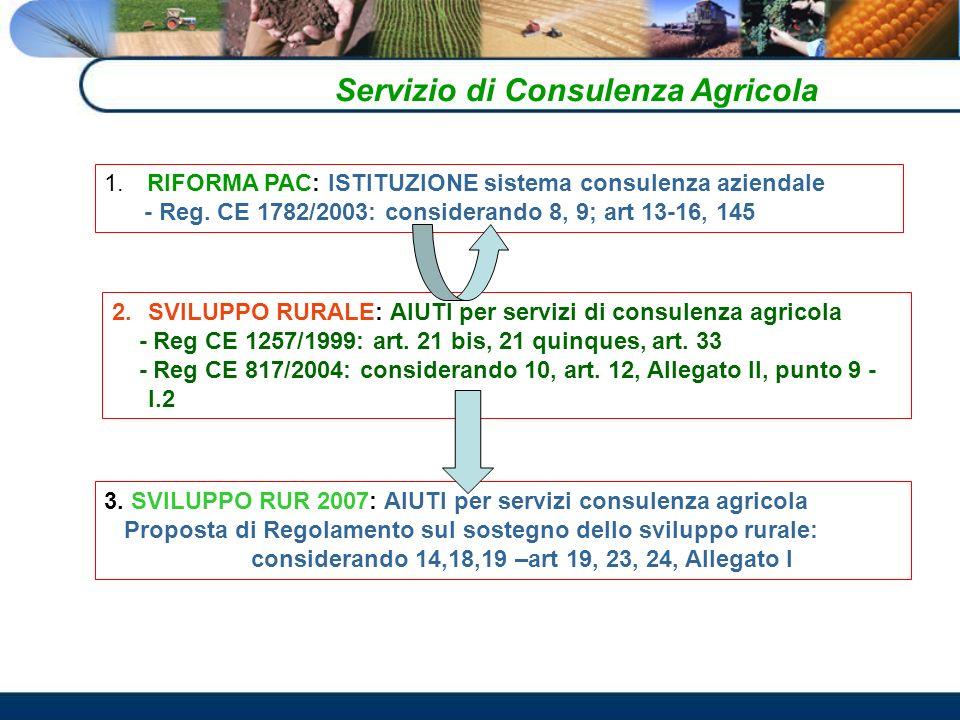 Servizio di Consulenza Agricola 1.RIFORMA PAC: ISTITUZIONE sistema consulenza aziendale - Reg.