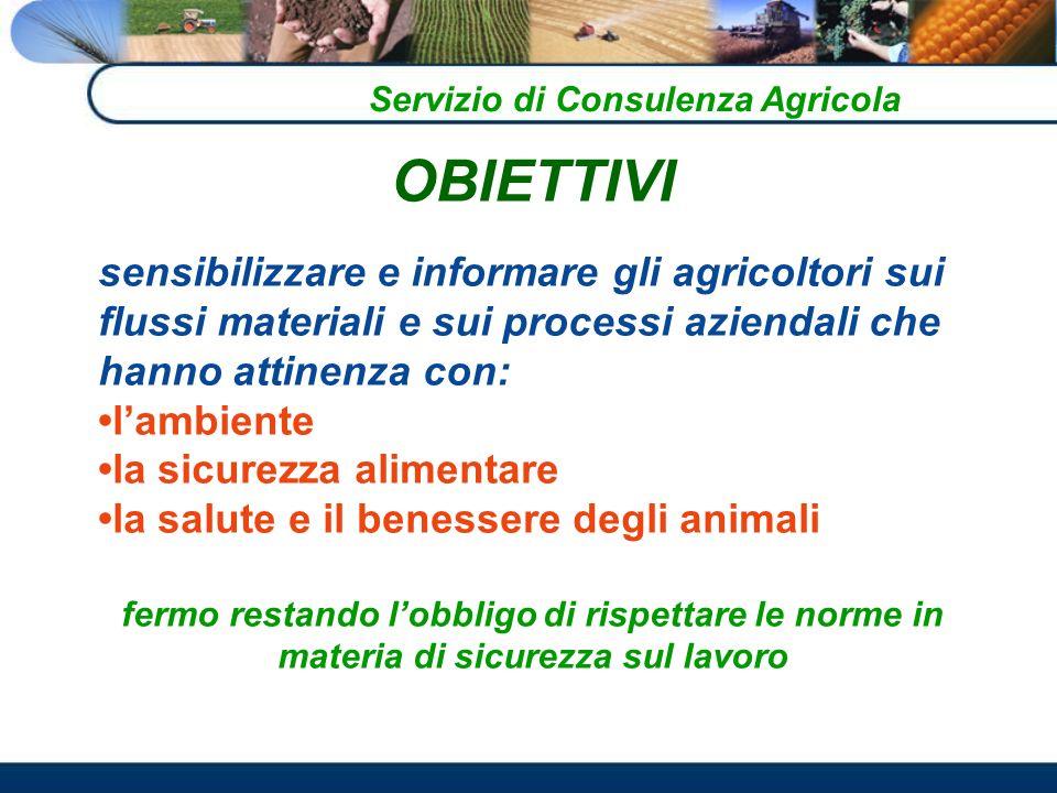 OBIETTIVI sensibilizzare e informare gli agricoltori sui flussi materiali e sui processi aziendali che hanno attinenza con: lambiente la sicurezza alimentare la salute e il benessere degli animali fermo restando lobbligo di rispettare le norme in materia di sicurezza sul lavoro Servizio di Consulenza Agricola