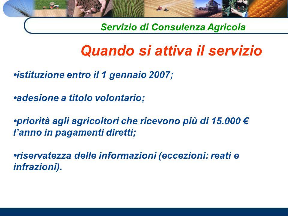 Servizio di Consulenza Agricola istituzione entro il 1 gennaio 2007; adesione a titolo volontario; priorità agli agricoltori che ricevono più di 15.000 lanno in pagamenti diretti; riservatezza delle informazioni (eccezioni: reati e infrazioni).