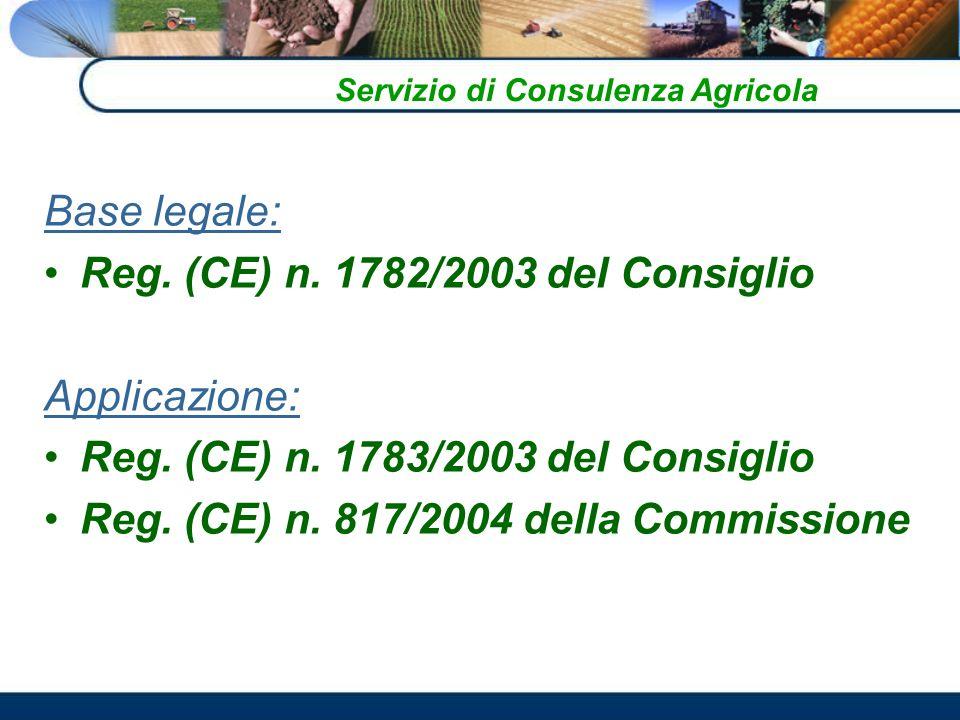 Base legale: Reg.(CE) n. 1782/2003 del Consiglio Applicazione: Reg.