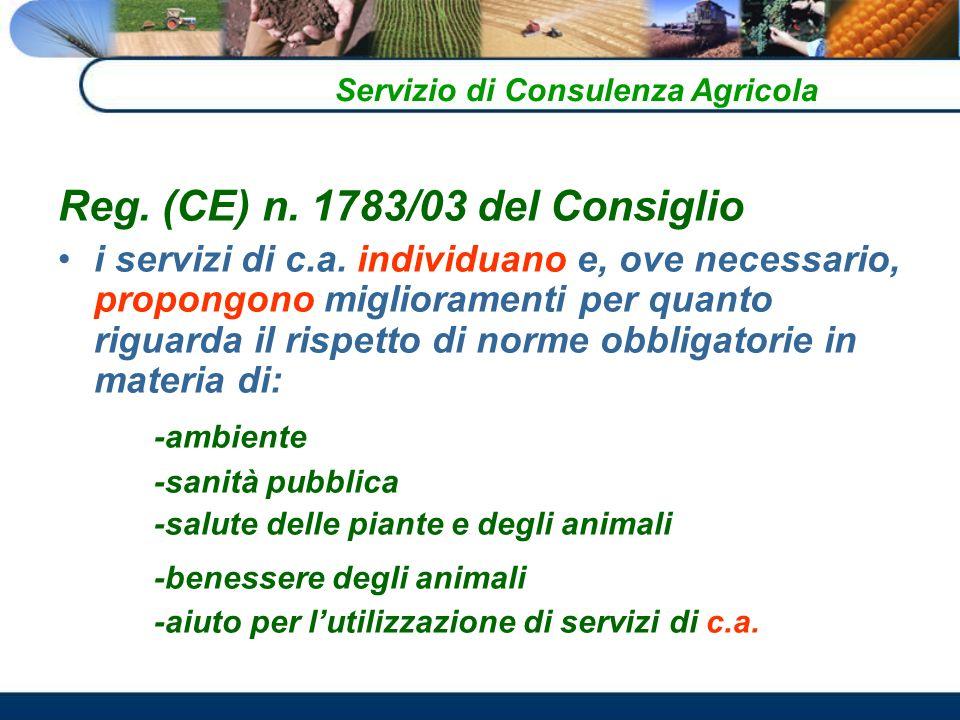 Reg.(CE) n. 1783/03 del Consiglio i servizi di c.a.
