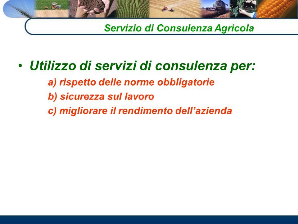 Utilizzo di servizi di consulenza per: a) rispetto delle norme obbligatorie b) sicurezza sul lavoro c) migliorare il rendimento dellazienda Servizio di Consulenza Agricola
