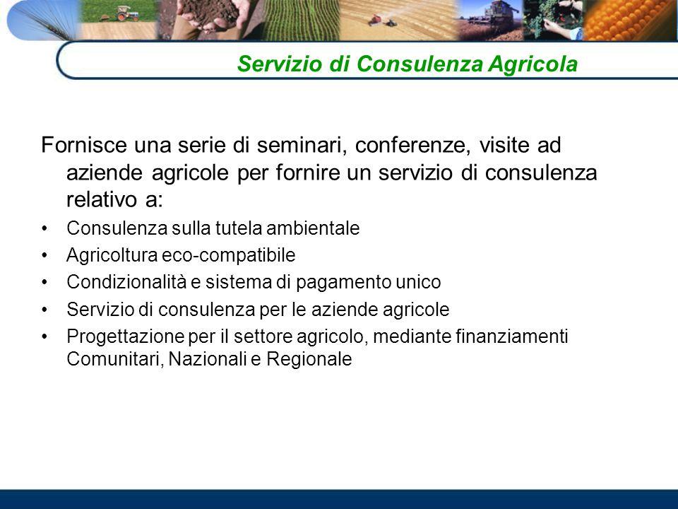 Fornisce una serie di seminari, conferenze, visite ad aziende agricole per fornire un servizio di consulenza relativo a: Consulenza sulla tutela ambientale Agricoltura eco-compatibile Condizionalità e sistema di pagamento unico Servizio di consulenza per le aziende agricole Progettazione per il settore agricolo, mediante finanziamenti Comunitari, Nazionali e Regionale Servizio di Consulenza Agricola