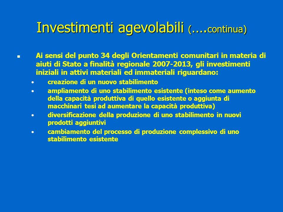Investimenti agevolabili ( ….