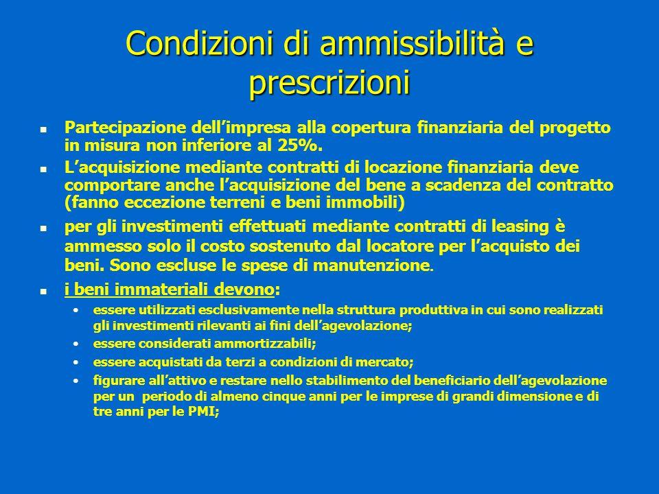 Condizioni di ammissibilità e prescrizioni Partecipazione dellimpresa alla copertura finanziaria del progetto in misura non inferiore al 25%.